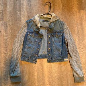 Cropped hooded jean jacket